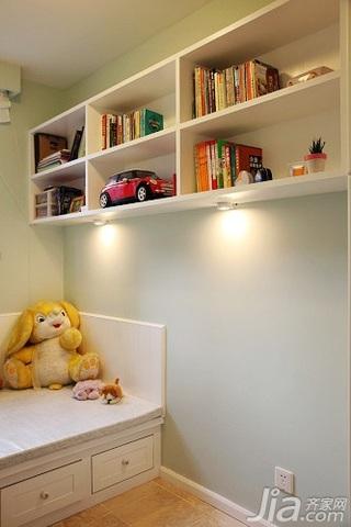 田园风格二居室10-15万90平米地台书架新房设计图纸
