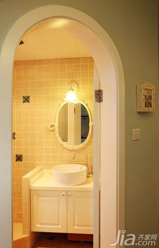 田园风格二居室10-15万90平米卫生间洗手台新房设计图