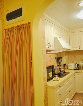 田园风格二居室10-15万80平米厨房橱柜三口之家设计图