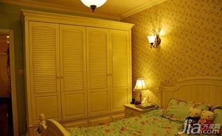 田园风格二居室温馨10-15万80平米卧室衣柜三口之家家装图