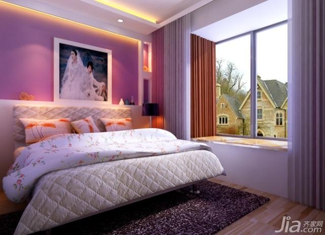 欧式风格二居室5-10万120平米卧室飘窗床新房设计图纸