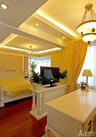 欧式风格四房温馨10-15万120平米书房床新房家装图