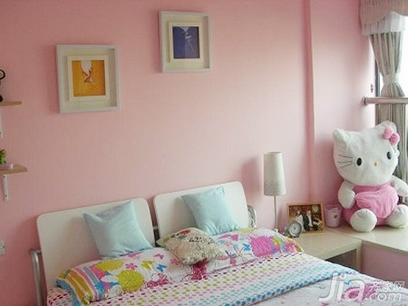 简约风格二居室粉色3万以下50平米儿童房床效果图