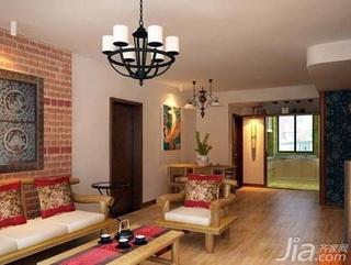 中式风格二居室简洁5-10万80平米客厅沙发背景墙沙发新房家装图