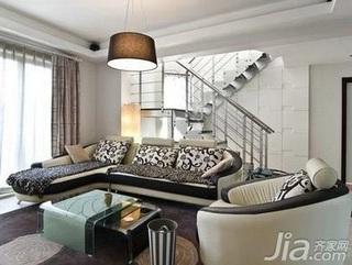 简约风格复式5-10万80平米客厅楼梯沙发新房家装图片