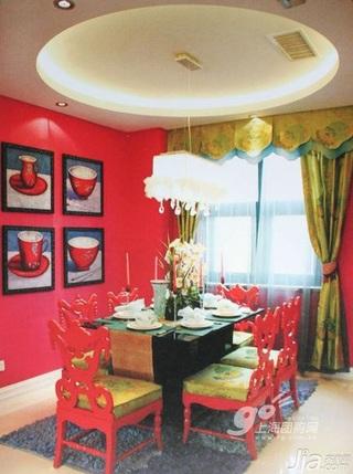 浪漫红色3万-5万90平米餐厅餐桌新房设计图