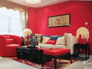 浪漫红色3万-5万90平米客厅沙发新房家居图片