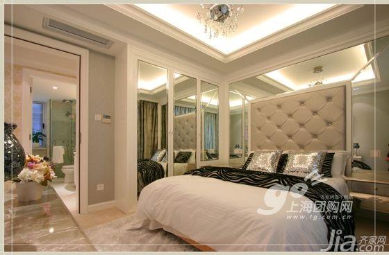 欧式风格四房10-15万110平米卧室背景墙床新房家装图