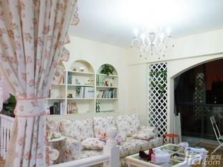 田园风格二居室3万以下60平米客厅沙发背景墙窗帘新房设计图纸