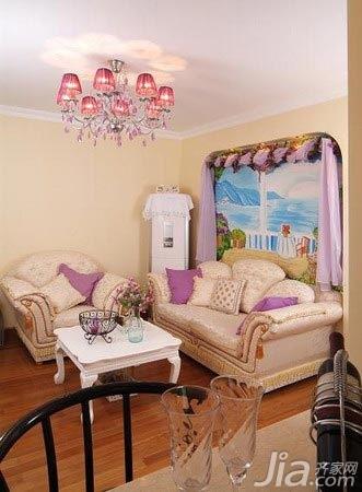 田园风格二居室温馨5-10万60平米客厅沙发婚房平面图
