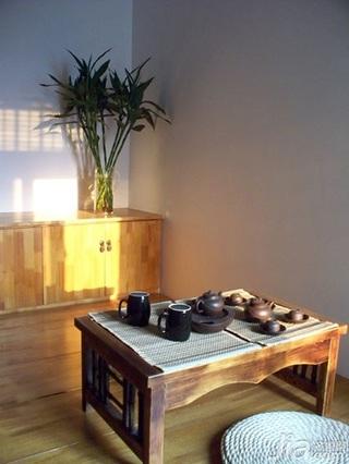 中式风格二居室3万以下60平米茶室茶几新房家装图片
