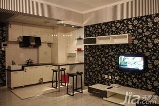 简约风格一居室3万以下50平米客厅吧台壁纸效果图
