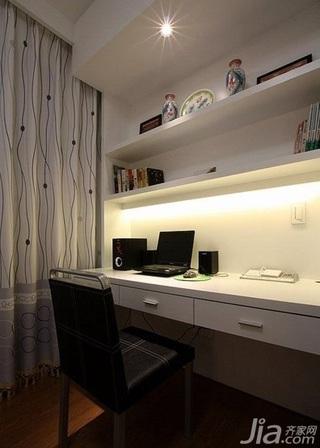 简约风格四房简洁白色15-20万80平米书房窗帘新房家装图