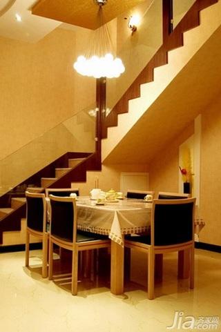 简约风格复式5-10万70平米楼梯餐桌新房平面图