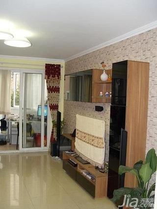 简约风格二居室5-10万70平米客厅隔断电视柜效果图