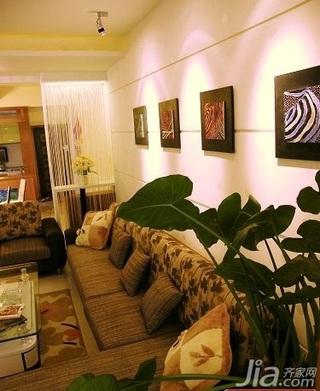 田园风格二居室5-10万70平米客厅背景墙沙发新房家装图片