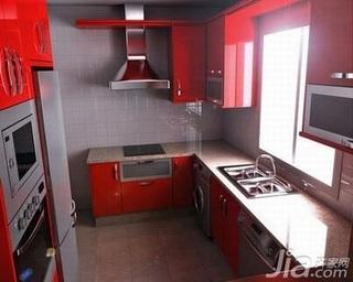 简约风格复式实用红色10-15万90平米客厅橱柜新房家装图片