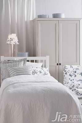 简约风格二居室白色3万以下50平米卧室床新房家装图片
