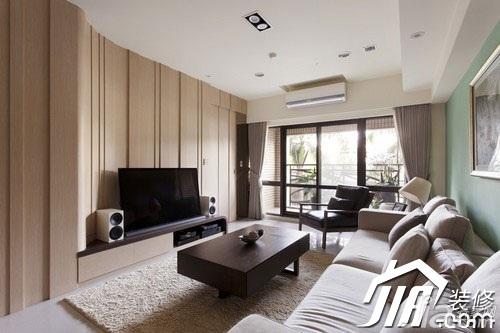 简约风格四房原木色富裕型130平米客厅沙发效果图