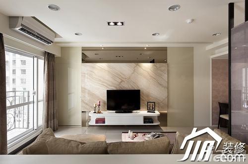简约风格小户型白色经济型60平米客厅电视背景墙窗帘效果图