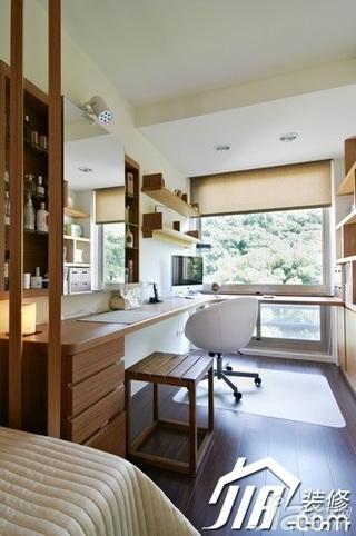 日式风格小户型富裕型70平米玄关隔断书桌效果图