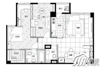 日式风格小户型富裕型70平米玄关隔断装修效果图