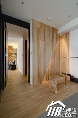 简约风格三居室原木色富裕型玄关吧台设计图纸