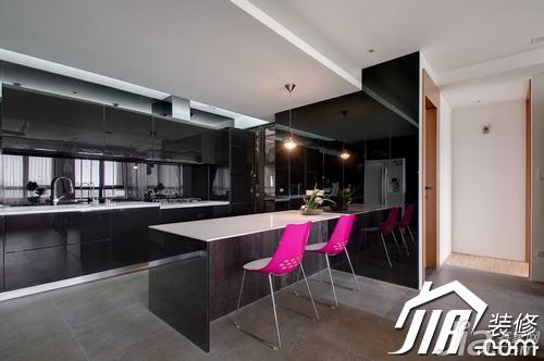 简约风格三居室黑色富裕型玄关吧台橱柜图片