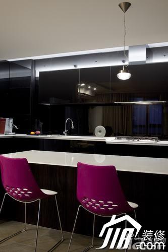 简约风格三居室黑色富裕型玄关吧台橱柜设计图