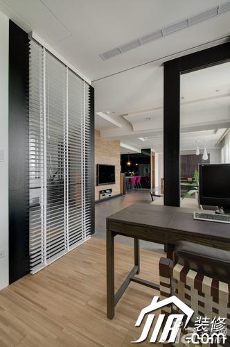 简约风格三居室富裕型玄关吧台书桌效果图