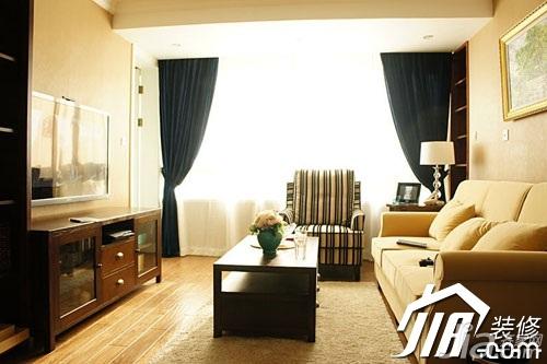 美式风格小户型舒适富裕型90平米厨房沙发婚房设计图