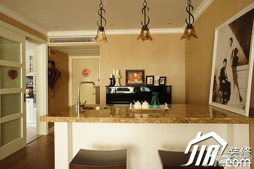 美式风格小户型富裕型90平米厨房吧台吧台椅婚房家装图