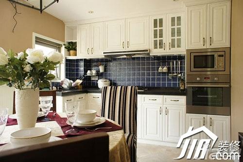 美式风格小户型富裕型90平米厨房橱柜婚房家装图