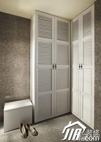 美式乡村风格小户型经济型70平米玄关鞋柜旧房改造设计图高清图片