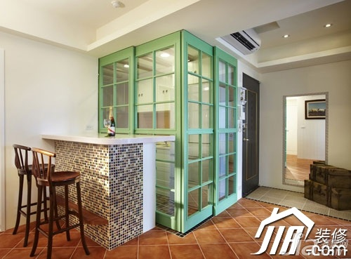 美式乡村风格小户型经济型70平米玄关吧台吧台椅旧房改造家装图
