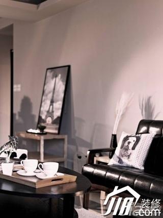 简约风格小户型简洁黑白富裕型60平米客厅沙发二手房家装图片