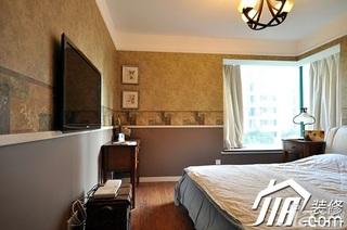 美式乡村风格三居室富裕型120平米卧室飘窗窗帘效果图