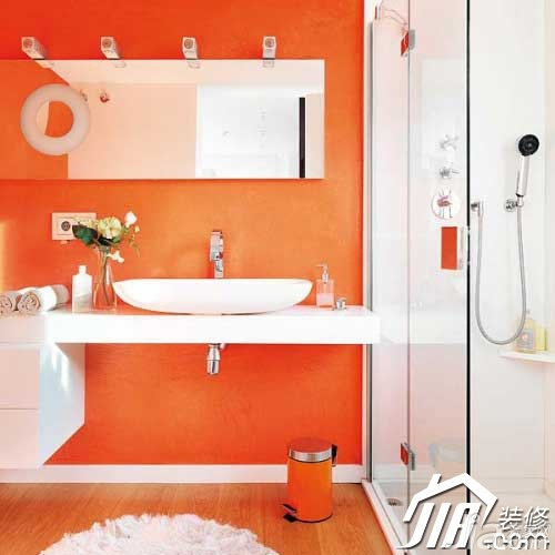 混搭风格一居室橙色70平米洗手台图片