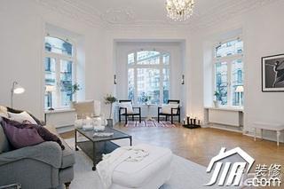 宜家风格二居室简洁白色富裕型客厅沙发效果图