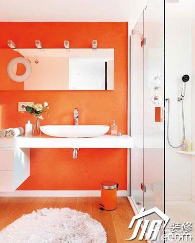 混搭风格小户型橙色富裕型洗手台效果图