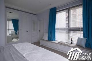 美式乡村风格三居室富裕型130平米卧室飘窗窗帘效果图