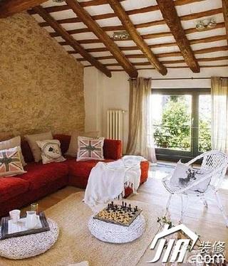 欧式风格跃层红色5-10万100平米客厅沙发效果图