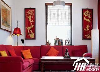 中式风格跃层舒适红色10-15万120平米客厅沙发效果图