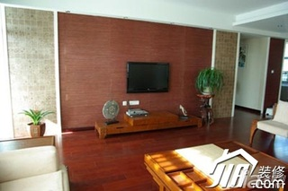 中式风格公寓10-15万100平米客厅电视背景墙电视柜效果图