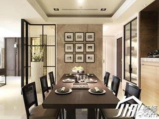 中式风格别墅简洁140平米以上餐厅背景墙餐桌效果图