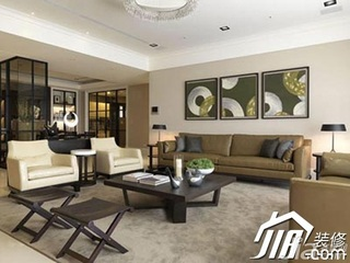 中式风格别墅简洁140平米以上客厅背景墙沙发效果图