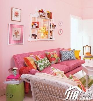 混搭风格公寓梦幻粉色5-10万100平米客厅背景墙沙发图片