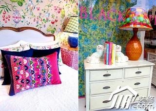 混搭风格公寓温馨5-10万100平米卧室床效果图