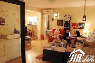 混搭风格可爱3万-5万60平米客厅沙发背景墙沙发图片