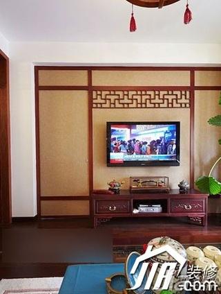 中式风格二居室3万-5万客厅电视背景墙电视柜效果图